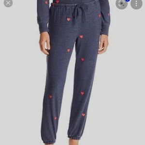 CHASER Heart Print Sweatpants in Blue XL